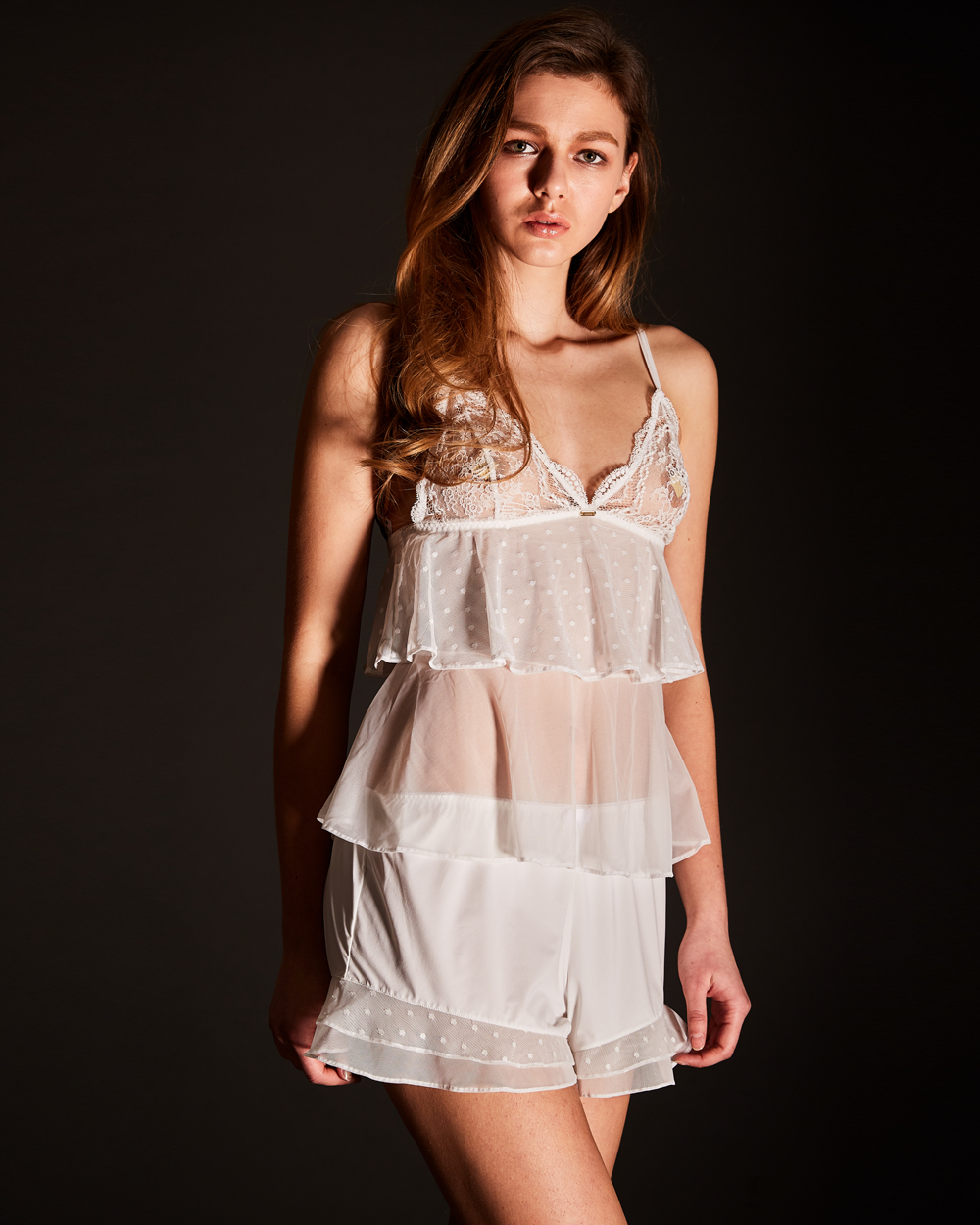 LUXLACE cami top ivory (TOP)