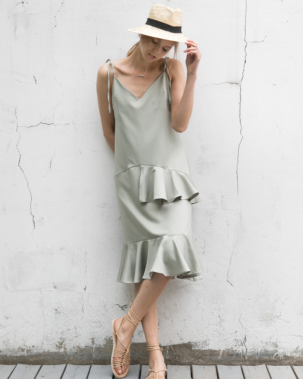 slip dress _ green
